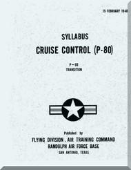 Lockheed P-80  Aircraft Syllabus Cruise Control  Manual,