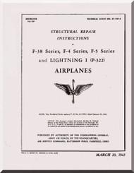 Lockheed P-38 , F-4, F-5  Aircraft  Structural Repair  Manual, T. O. 01-75F-3,  ,1943