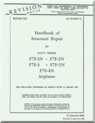 Grumman F7F-1N, 2N, -3, -3N  Aircraft Handbook of Structural Repair Manual AN  01-85FA-3, 1946