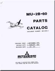 Misubishi MU-2B-60 Aircraft Parts Catalog  Manual ( English  Language )