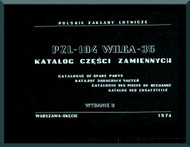 PZL 104 Wilga 35  Aircraft  Catalogof Spare Parts    Manual -  ( English Language ) , 1974