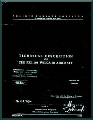 PZL 104 - 35 Wilga  Aircraft  Technical Description  Manual -  ( English Language ) , 1975