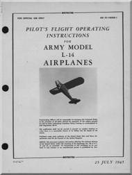 Piper Aircraft   L-14 Cub  Pilot's Flight Operating Instructions Manual