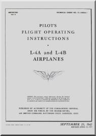 Piper Aircraft  L4 A ,L-4B Pilot's Flight Operating Instructions Manual AN 01-140DA-1 ,  1942