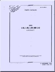 Piper Aircraft  L-4 A, B, H, J Parts Catalog Manual AN 01-140DA-4 ,  1943