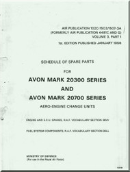 Rolls Royce Avon Mark 20300 - 20700 Aircraft Engine Spare Parts Manual