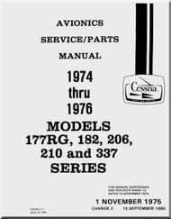 Cessna Aircraft Avionic Installation Service / Parts Catalog  Manual 1974 -1976