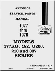 Cessna Aircraft Avionic Installation Service / Parts Catalog  Manual 1977 -1978