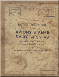 Stampe SV-4 C et SV-4B  Aircraft Technical Manual   (French language ) 1947