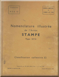 Stampe SV4 Aircraft Illustrated Parts Catalog  Manual   (French language ) -  1948