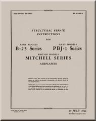 North American Aviation B-25 Series PBJ- Series   Aircraft   Structural Repair  Manual, , AN 01-60G-3 -  1944 - 1952