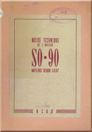 SNCASO SO  90  Corse  Aircraft Notice Technique  Manual ( French Language )
