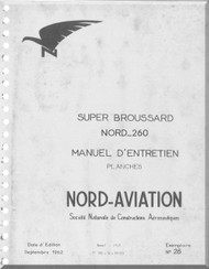 Nord  260 Super Brousard Aircraft Manuel d'utilisation   Manual   (French language ) -  Planches -1962