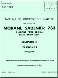 Morane Saulnier MS-733 Aircraft Illustrated Parts Catalog  Manual ( French Language )