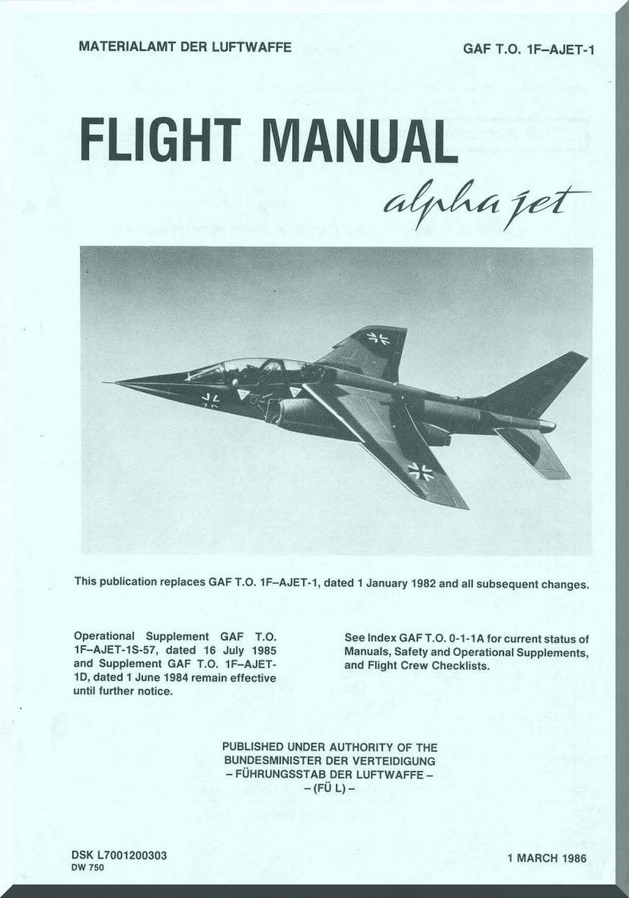 Dassault Dornier Alpha Jet Aircraft Flight Manual