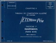 Dassault Etendard IV M  Aircraft  Part Manual - Equipment - Text  , ( French Language )