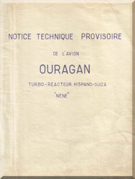 Dassault Ouragan  Aircraft  Technical Manual -  ( French Language ) -