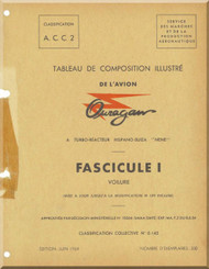 "Dassault M.D. 450 Ouragan Aircraft Illustrated Parts Catalog Manual  - "" Tableau de Composition Illustre  ""  ( French Language ) -"