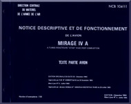 Dassault Mirage IV A  Aircraft Description and Operatiing  Manual - Text- Partie Testo - ( French Language )