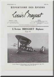 Breguet 33   Aircraft Technical Brochure  Manual ( French Language )