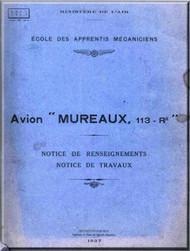 """ANF Avion """" Mureaux ' 113  Aircraft Technical  Manual  - Notice de reseignements Notice de Travaux ( French Language )  - 1937"""
