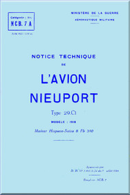 Nieuport Type 29 C.1 Model 1918 Aircraft Technical  Manual ( French Language )  - July 1925