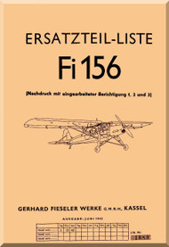 Fieseler Fi 156  Aircraft  Illustrated Parts Catalog  Manual ,    (German Language ) -  Ersatzteilliste