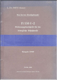 Fieseler Fi-156 Aircraft Operating Instructions Manual - Bedienungsvorschrift -   (German Language ) -