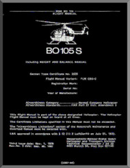 MBB  Messerschmitt - Bolkow - Blohm  BO 105 S Flight Manual , 1983