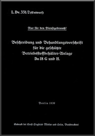 Dornier DO -18G  Aircraft  Maintenance Manual  , ( Geman Language )  -L.DvT.331 /2 - 1939