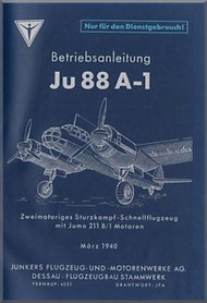 Junker JU 88 A-1,   Aircraft  Operating  Manual ,  Betriebsanleitung (German Language ), 1940