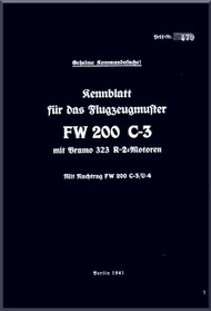 Focke-Wulf  FW 200 C-3   Aircraft Handbook Manual ,    (German Language ) - 1941