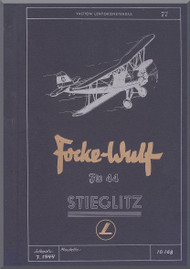Focke-Wulf  FW 44  Aircraft  Technical Manual ,    (German Language )