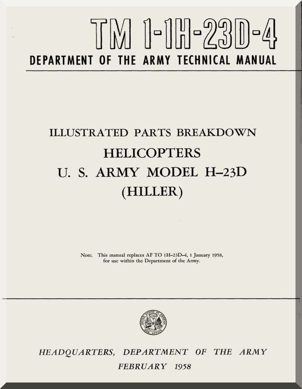 Hiller H 23 D Helicopter Illustrated Parts Breakdown Manual Tm 1 Diagram Image