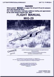 Mikoyan Gurevich Mig-29  Aircraft Flight Manual -  1994  - Rev. 2003 ( English  Language )