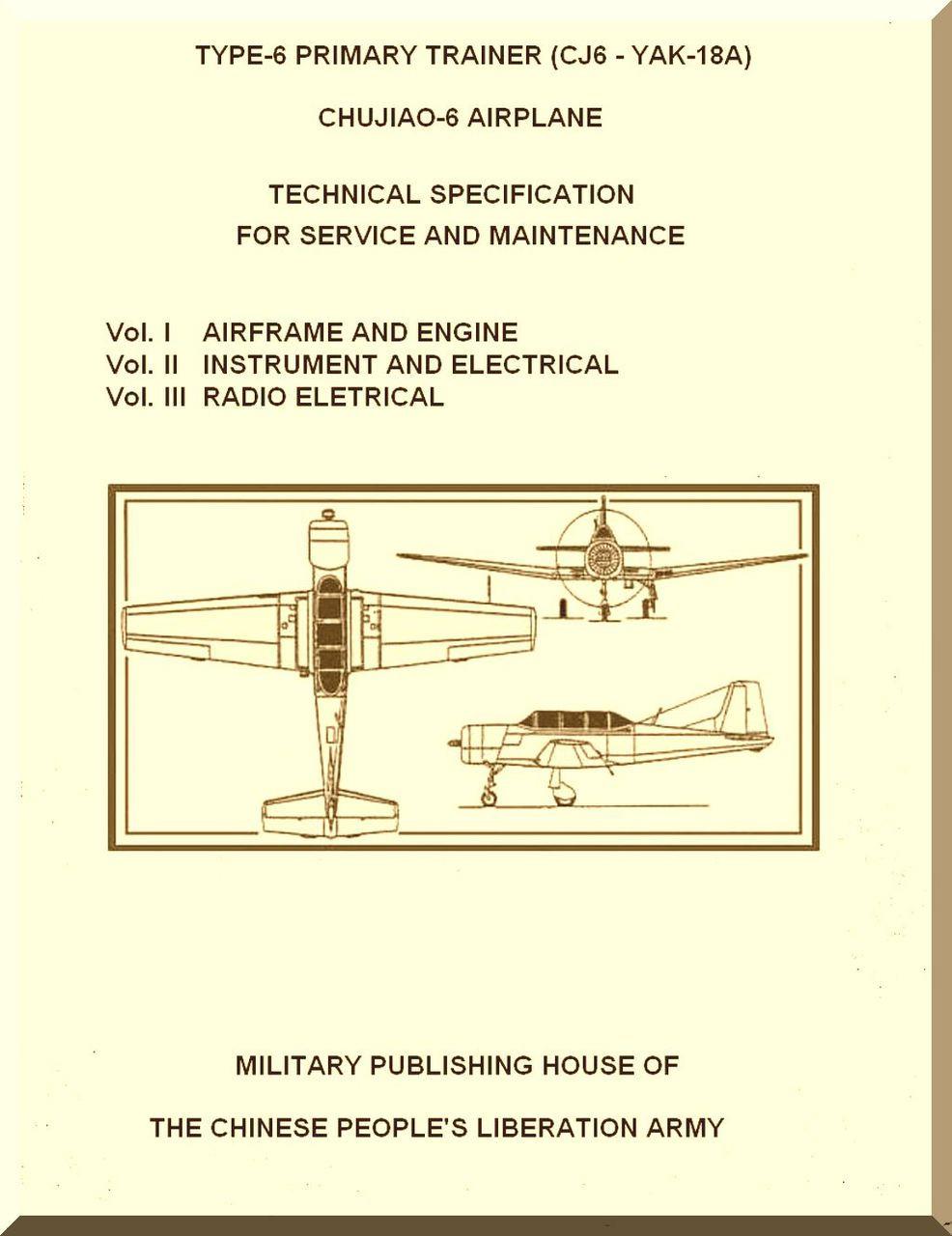 Yakovlev Yak-1A PT6 CJ6 Aircraft Maintenance Manual - (English Language on
