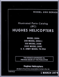 Hughes Helicopter 269 A A-1 B , C 300 C TH-55  Illustrated Parts Catalog Manual  ( English Manual ) , 1974