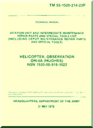 "Hughes OH-6A "" Cayuse "" Aviation Unit and Intermediate Maintenance Repairs Parts and Special Tools List TM 55-1520-214 -23P, 1976"