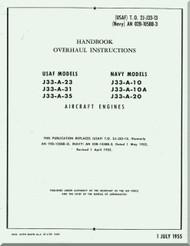 Allison J-33-A-910, -10A, -20 -23-31-35   Aircraft Engine Handbook Overhaul Instruction Manual  -  1955 - ( English Language )