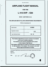 Let L-410 UVP-E, -E9, UVP-E20 Aircraft  Flight  Manual -  ( English Language ) -