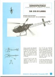 Sud Aviation / Aerospatiale  SA.315 B Helicopter Technical Brochure Manual  ( French English  Language )