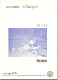Sud Aviation / Aerospatiale  SA.315 B Helicopter Technical Brochure Manual  ( French  Language )