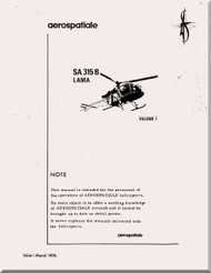 Sud Aviation / Aerospatiale  SA.315 B Helicopter Training  Manual - Volume 1 - 1976  ( English   Language )