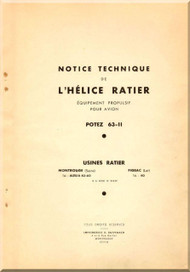 Ratier Propeller / Potez 63-11 Aircraft Propeller   Manual  ( French Language )