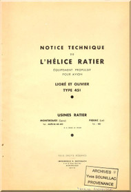 Ratier Propeller  / Liore et Oliver 451 Aircraft Propeller   Manual  ( French Language )