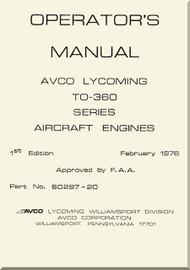 Lycoming TO-360 Series Aircraft Engine  Operator's  Manual  ( English Language )