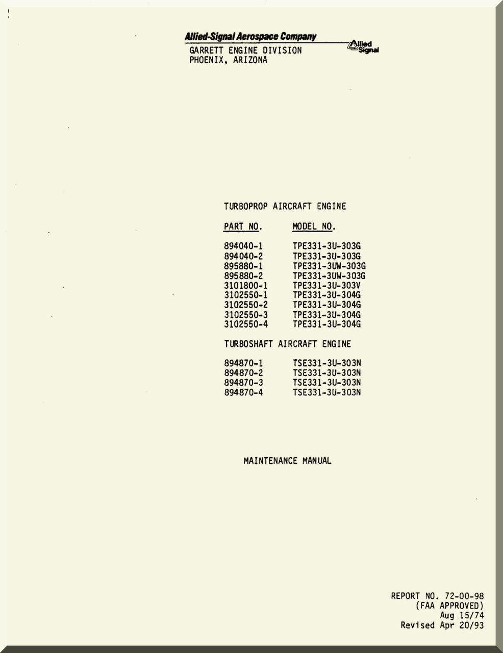 Allied-Signal / Garrett TPE331-3U Turboprop / Turboshaft Engine Maintenance  Manual - ( English Language )