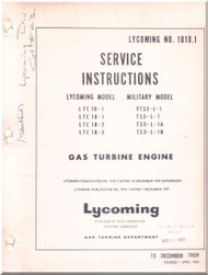 Lycoming  LTC-1B T-53 -L  Turbine Aircraft Engines  Service Instructions Manual  ( English Language )