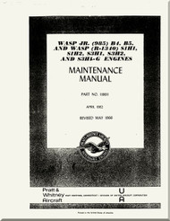 Pratt & Whitney WASP S3H1, S1H1, S1H2 and S3H1G Aircraft Engine Maintenance  Manual 1966