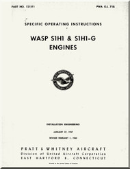 Pratt & Whitney WASP S3H1, S1H1-G ,  Aircraft Engine Specific Operating Instructions Manual 1960